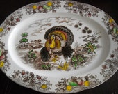 Vintage Thanksgiving Turkey Transferware Platter