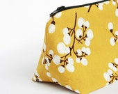 Mustard Cosmetic Bag with White Vine Floral Print Bridesmaid Gift - JordaniSarreal