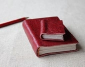 WINTER SALE // The mini pocket friend leather journal // Blood red