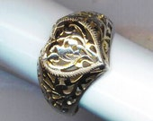 Vintage Sterling Silver Heart Filigree Ring - Loving Heart  by enchantedbeas on Etsy