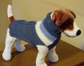 Dog Sweater Hand Knit Blue Cables and Stripes Medium Merino Wool