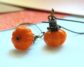Pumpkin Earrings - Orange, Fire, Sun, Copper, Apricot, Bright, Night, Halloween, OOAK, Coral, Tangelo, Rustic, Vegetable