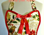 Apron French Holiday Red & Gold Filigree, Pretty Fun Hostess Party Kitchen Gift