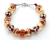 Lampwork beaded bracelet - red and yellow - CraftemallHandmade