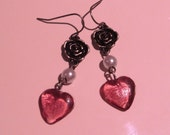 Beauty and the Beast: fairytale earrings with rose charms, faux pearls and glass hearts