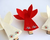 Be My Angel, Holiday Gift Set Red and White Wool Felt Clothespin Magnets Set of 2