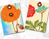 Vintage Gift Tags Digital Collage Sheet Botanical ACEO sized Altered Art Printable Image No.309