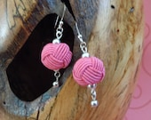 Pink Woven Bead Sterling Silver Earrings