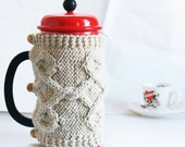 French Press Cozy, Coffee Cozy, Tea Cozy Ivory Color Ready to Ship