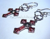 Gothic Cross Earrings 002 Goth Vampire Victorian Silver Red by MadScientistsDesigns