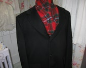 Mens Black Wool Overcoat 48 Chest