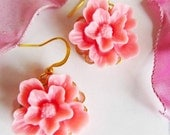 Hot pink flower earrings, Simple and Romantic Earrings,Hot pink flower, gold plated wire hook, great gift for holiday