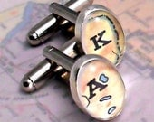 Personalized Map Initial Cufflinks from Recycled Maps --- Fathers Day Gift for Traveller - zoeymarchjewelry