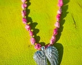 "PINK ANGEL Bling Double Angel Wings Pink Semi-Precious Howlite Nuggets ""Made With Love"" and Angel Wing Charms"