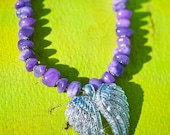 THE PURPLE ANGEL Agate Chunky Stones with Bling Double Angel Wings Neclace