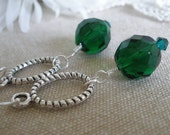 Emerald Green Faceted Ball Earrings