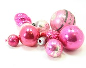 Set of 9 Vintage Pink Glass Christmas Ball Ornaments - Shabby Charm