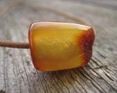 Natural Baltic Amber Charm: Amber Necklace, Amber Pendant, Honey, Brown, Yellow,  Leather