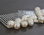 Bridal hair combs wire wrapped with creamy ivory pearls Fashion - LoveandCherish