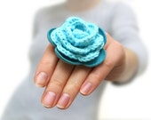 Turquoise crochet and leather flower ring - katrinshine