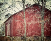 Rustic Red Amish Barn. Country Shabby Chic Farmhouse Kitchen Art Photograph. Crimson brown stone. Farm Landscape. Gift under 30.