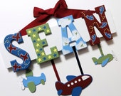 SALE - Airplane Baby Name Sign (5 Letters) - Custom Hand Painted Wood Letters with Planes Theme