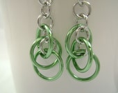 Mint Green Earrings Hoops Chainmaille Orbitals