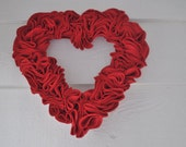 Valentine Heart Wreath Ruffled Felt Red