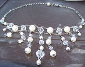 Vintage AVON Silvertone Faux White Pearl and Facet Cut Clear Crystal Choker Style Necklace
