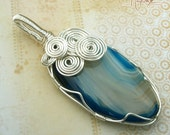 Wire Wrapped Pendant Bright Blue Agate in Silver Wire