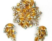 Vintage Juliana Brooch and Earrings Set Honey Colored Navettes and AB Rhinestones