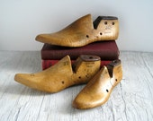 Vintage Wood Shoe Forms - Industrial Rustic Home Decor