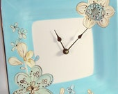 Wall Clock in Aqua Brown and Cream - Flower - Ceramic Plate Wall Clock No. 707 (10-1/2 inches)