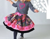 Twirl Skirt, Ruffled, Layered, Edith Skirt - Winter Collection, Pick Your Trim with Blue Passion Base and Velvet