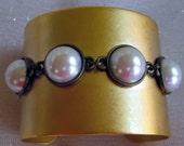 "Cuff Bracelets, Sterling Silver Cuff Bracelets, Leather Bracelets, Gold Cuff Bracelet  ""PearlZ"""