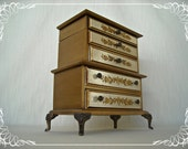 Vintage Jewelry Box French Gilt Wood Chest Dresser 1960s