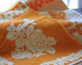 Vintage 60's Hand Towel Set Retro Orange Yellow