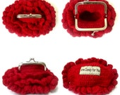 Frame Coin Purse Crochet Garnet Red with ruffles Valentine