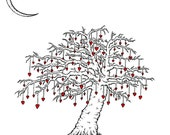 The Tree at the Edge of The World. Print of original heart drawing by seth with three free postcards - theartofseth