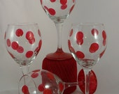 "Set of 4 Red Hand Painted Wine Glasses ""Glitter Dots"""