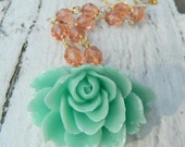 Aqua Sea Foam Cabbage Rose and Coral Glass Beaded Necklace in Gold