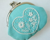 Handmade coin purse - embroidered heart flowers on aqua blue linen