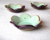 Flower ring dish in eggplant and mint  handmade pottery