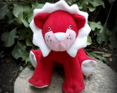 Valentine's - Plush Red and White Lion - FREE SHIPPING