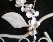 Dangling Triple Orchids Flowers Lariate Necklace - bridesmaid gifts,Wedding jewelry,flower girl,anniversary gift