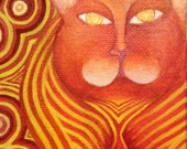 Original Cat Painting on Canvas OSWOA 4x6 Gold Art Carnelian