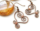 Rustic Wire Heart Earrings, Copper Wire Wrapped -Swirly Heart - heversonart