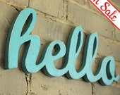 SALE hello wood sign made from recycled wood