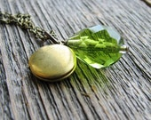 Bead Locket Necklace Faceted Green Czech Glass Teardrop Bead Round Vintage Locket Antique Brass Chain