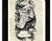 Whimsical Woodland Owl Dictionary Print Made From Antique Ex Libris and Antique Dictionary Page